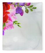 Fresh Freesia Flowers On Blue Fleece Blanket