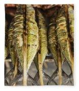 Fresh Grilled Asian Fish In Kep Market Cambodia Fleece Blanket