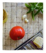 Fresh Italian Cooking Ingredients On Tile Fleece Blanket