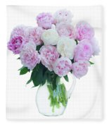 Vase Of Peonies Fleece Blanket