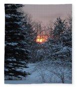 Fresh Snow At Sunrise Fleece Blanket