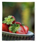 Fresh Strawberries Fleece Blanket