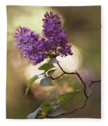 Fresh Violet Lilac Flowers Fleece Blanket