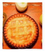 Freshly Baked Pie Surrounded By Apples On Table Fleece Blanket