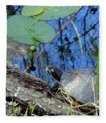 Freshwater Turtle Sunning Fleece Blanket
