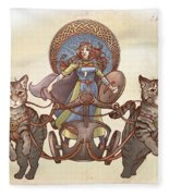 Freya And Her Cat Chariot-garbed Version Fleece Blanket