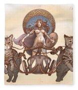 Freya And Her Cat Chariot-nude Version Fleece Blanket
