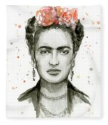 Frida Kahlo Portrait Fleece Blanket