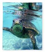 friendly Hawaiian sea turtle  Fleece Blanket