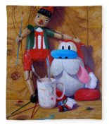 Friends 2  -  Pinocchio And Stimpy   Fleece Blanket