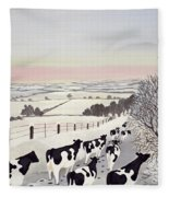 Friesians In Winter Fleece Blanket