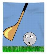 Frightened Golf Ball Fleece Blanket
