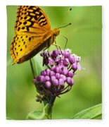 Fritillary Butterfly And Flower Fleece Blanket
