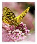Fritillary Butterfly On Flowers Fleece Blanket