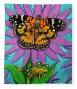 Frog And Butterfly Fleece Blanket