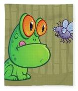 Frog And Dragonfly Fleece Blanket by John Schwegel