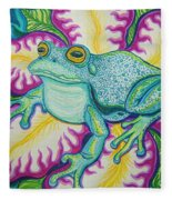 Frog And Flower Fleece Blanket