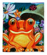Frog And Flowers Fleece Blanket