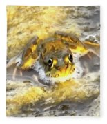 Frog In Deep Water Fleece Blanket