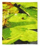 Frog On Lily Pad Fleece Blanket