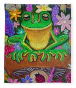 Frog On Mushroom Fleece Blanket