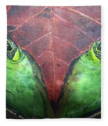 Frog With Leaf Fleece Blanket
