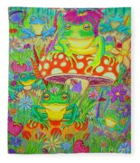 Frogs And Mushrooms Fleece Blanket
