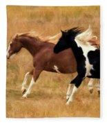 Frolicking Horses Fleece Blanket