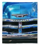 Front End Blue And Chrome Chevy Pick Up Fleece Blanket