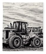 Front End Loader Black And White Fleece Blanket