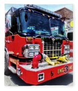 Front Of Fire Truck With Hose Fleece Blanket