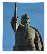 Front View Of King Afonso The Third Statue. Portugal Fleece Blanket
