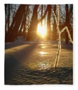 Frost On Sapling At Sunrise Fleece Blanket