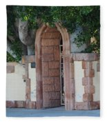 Frosted Almond Garden Wall With Red Brick Entrance Fleece Blanket