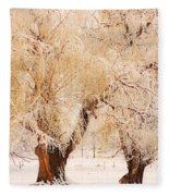 Frosted Golden Trees Fleece Blanket