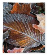 Frosted Painted Leaves Fleece Blanket