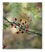 Frosted Red Berries And Green Leaves  Fleece Blanket