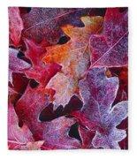 Frosted Red Oak Leaves Fleece Blanket