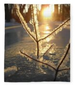 Frosty Branches At Sunrise Fleece Blanket