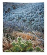 Frosty Prickly Pear Fleece Blanket