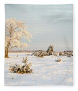 Frosty Solitude Tree In The First Morning Sunshine Fleece Blanket