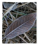 Frosty Veined Leaf Fleece Blanket