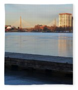 Frozen Dock On The Charles River Fleece Blanket