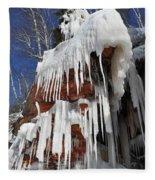 Frozen Apostle Islands National Lakeshore Portrait Fleece Blanket