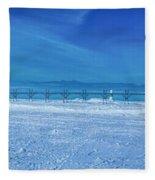 Frozen Lake Michgan At Grand Haven Fleece Blanket