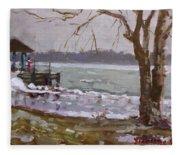 Frozen Niagara River Fleece Blanket