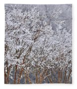 Frozen Trees During Winter Storm Fleece Blanket