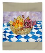 Fruit Basket Still Life 2 Painting Fleece Blanket