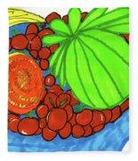 Fruit In A Blue Bowl Fleece Blanket