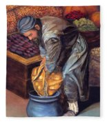 Fruit Vendor Fleece Blanket
